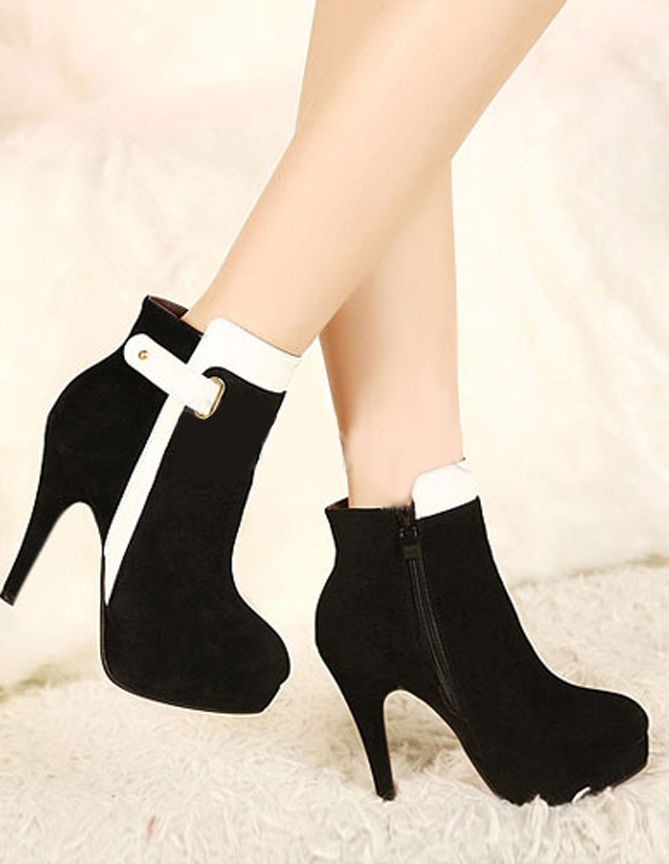 Pretty White Round Toe Stiletto Heel Terry Heeled Ankle Boots For ...