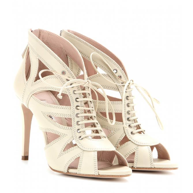 Miu Miu LEATHER LACE-UP SANDALS
