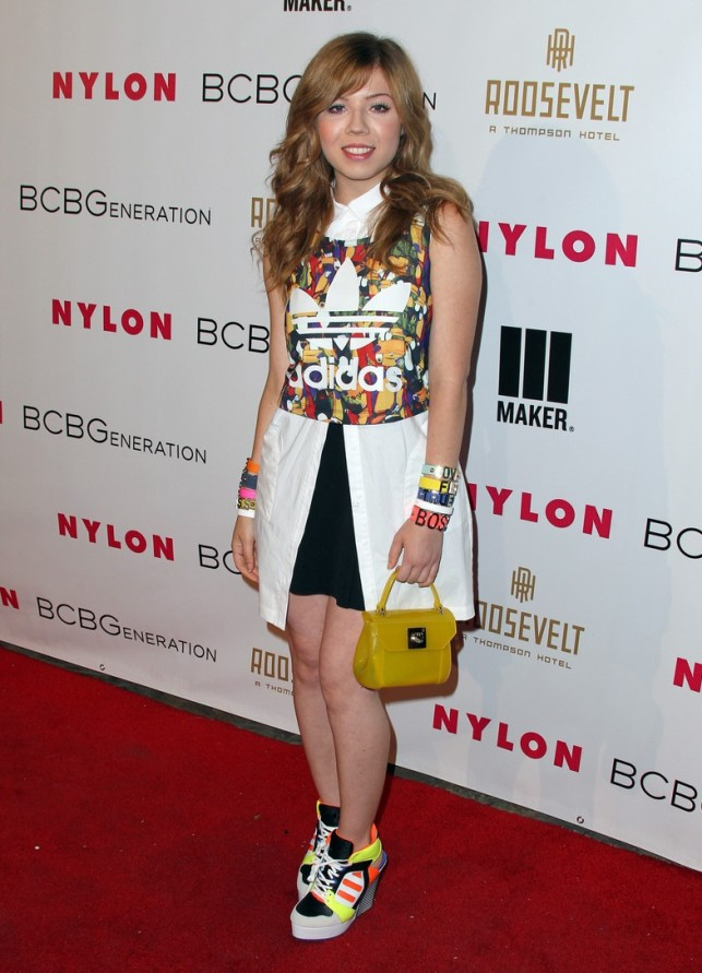 Jennette McCurdy Stands Tall with Adidas Wedges Shoes Post