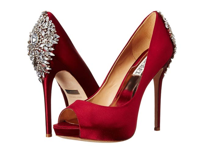 Badgley Mischka Kiara Red Satin - Shoes Post