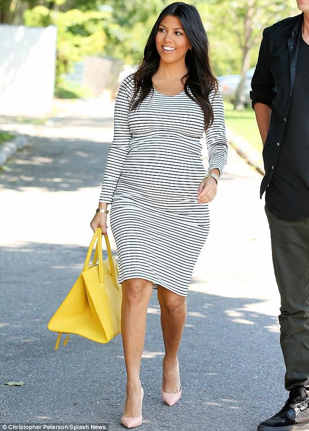 Kourtney Kardashian Aces Maternity Dressing In Ankle Wrap