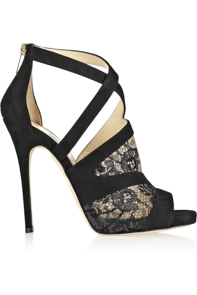JIMMY CHOO Vantage Suede and Lace Sandals - Shoes Post