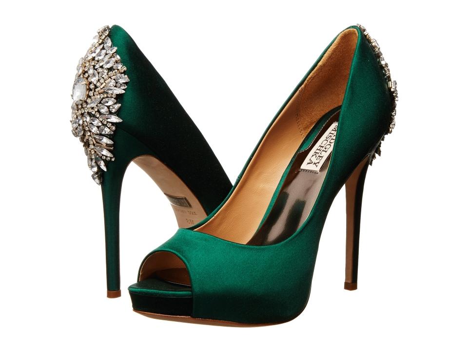 Green Satin High Heel Shoes