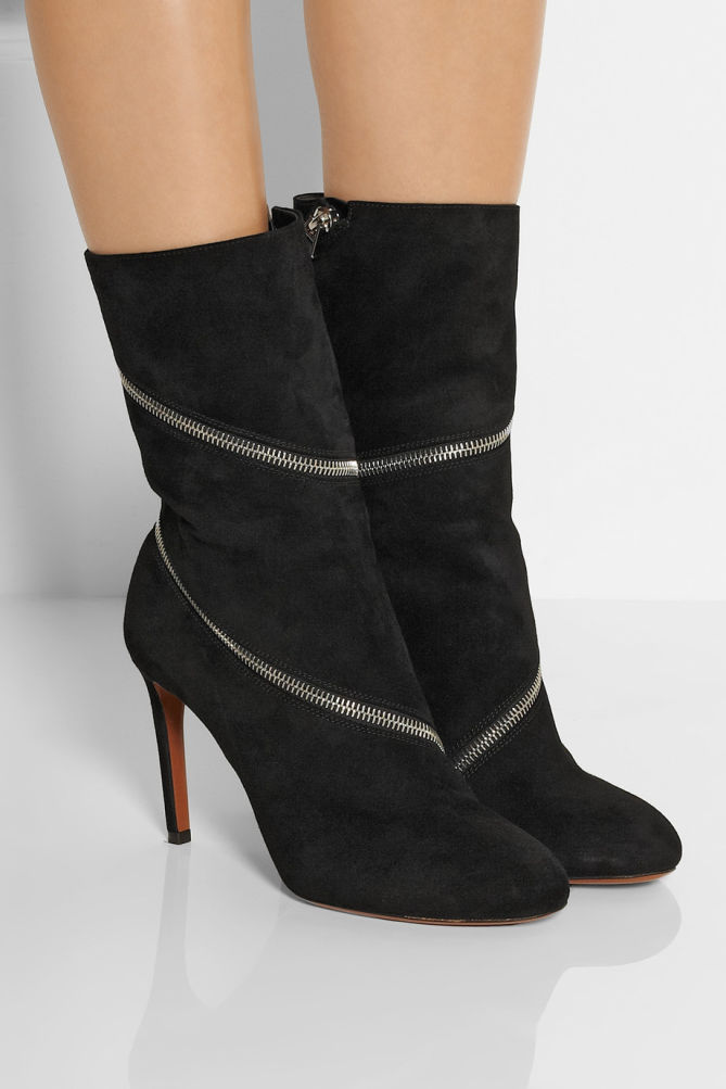 Ala 207 A Zipped Suede Ankle Boots Shoes Post