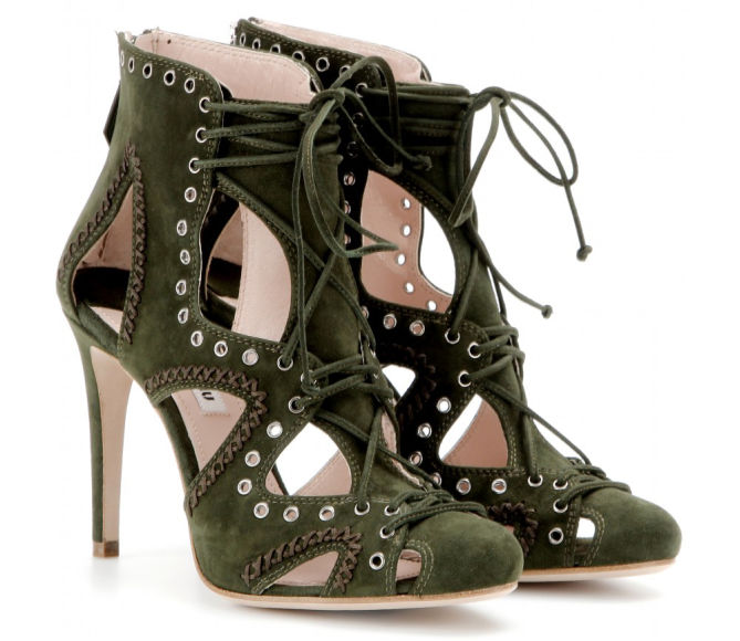 MIU MIU Suede Lace-up Sandals