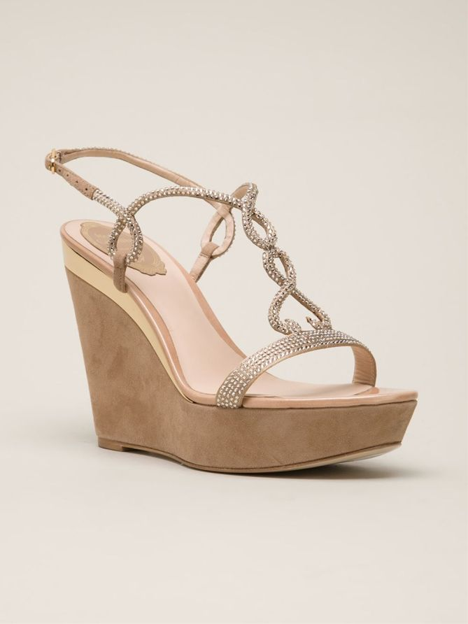 rene caovilla crystallized strappy wedges