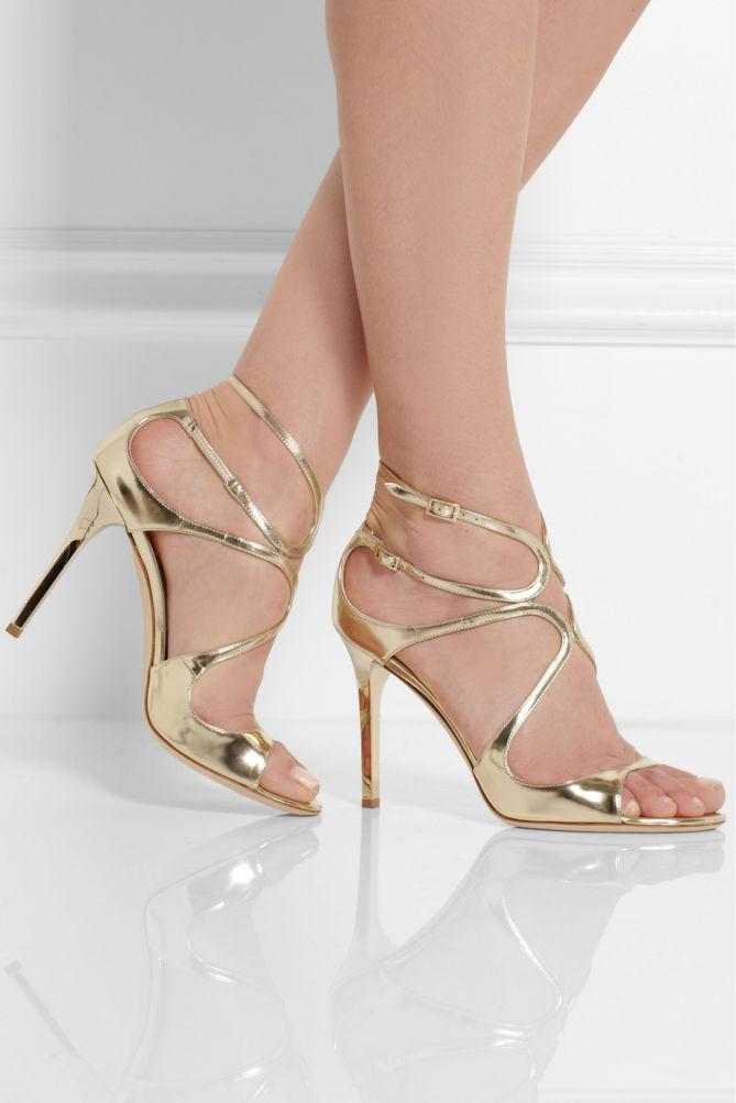 8e34e9f6aec6 JIMMY CHOO Lang Metallic Leather Sandals - Shoes Post