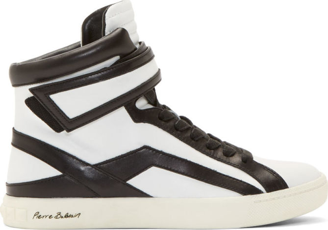 679fab6fe70 Pierre Balmain Leather High-Top Sneakers - Shoes Post