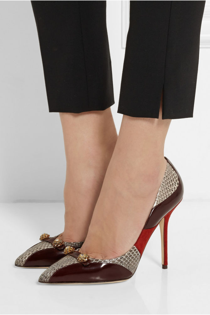 Artsy Dolce Gabbana Leather Suede Burgundy Bellucci Embellished And Elaphe Pumps