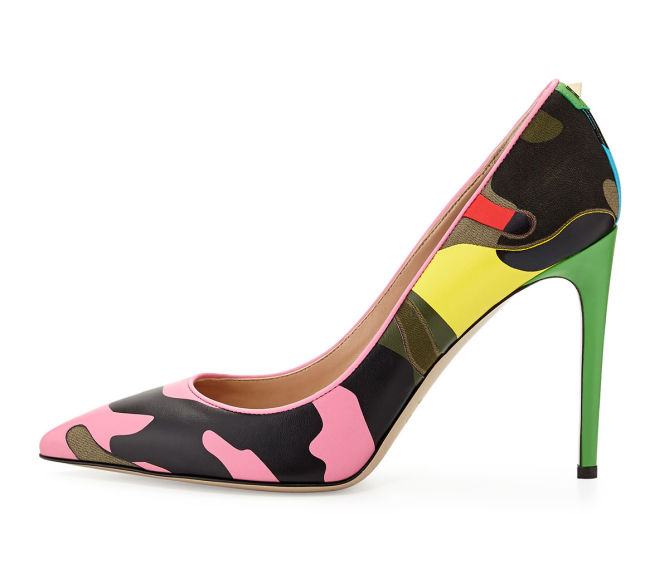 c6b8144f0b2d9 Valentino Psychedelic Camo Rockstud Pump, Ninphea/Green - Shoes Post