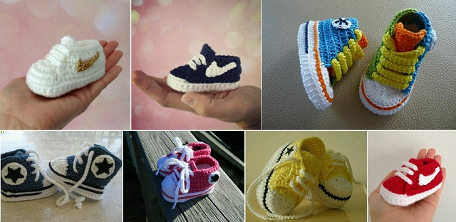 Free Knitting Pattern For Baby Tennis Shoes : Nike DIY Crochet Baby Booties - Shoes Post