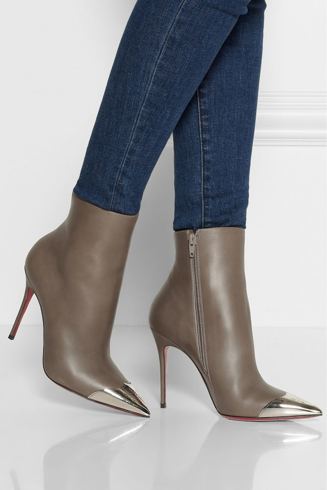 Christian Louboutin Leather Cap-Toe Ankle Boots best place sale online T0eCIZ