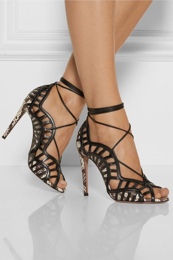 Aquazzura Lola Lace Up Elaphe And Leather Sandals Shoes Post