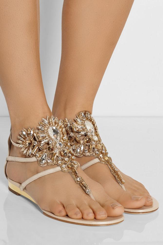 Ren 201 Caovilla Swarovski Crystal Embellished Suede Sandals