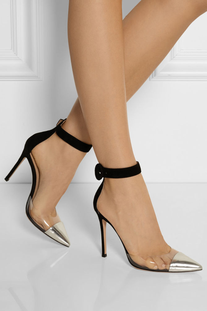 Gianvito Rossi Leather Pvc And Suede Pumps Shoes Post