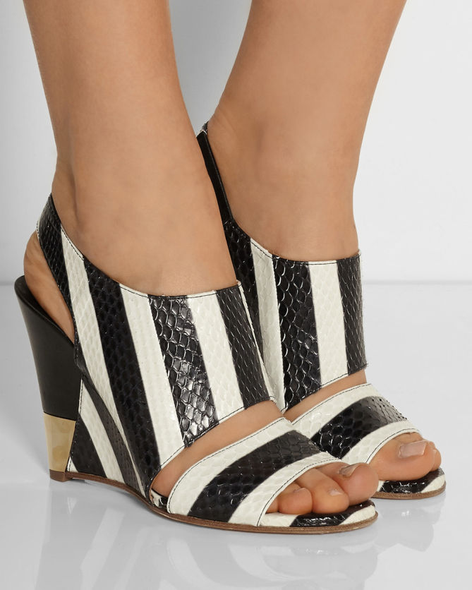 Chlo 201 Striped Ayers Wedge Sandals Shoes Post