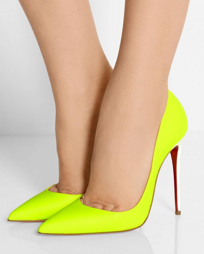 f7e48afcea5 CHRISTIAN LOUBOUTIN So Kate 120 Neon Leather Pumps - Shoes Post