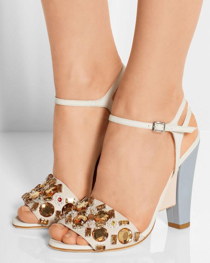 da1721bd8370a0 FENDI Crystal-embellished Color-block Leather Sandals - Shoes Post