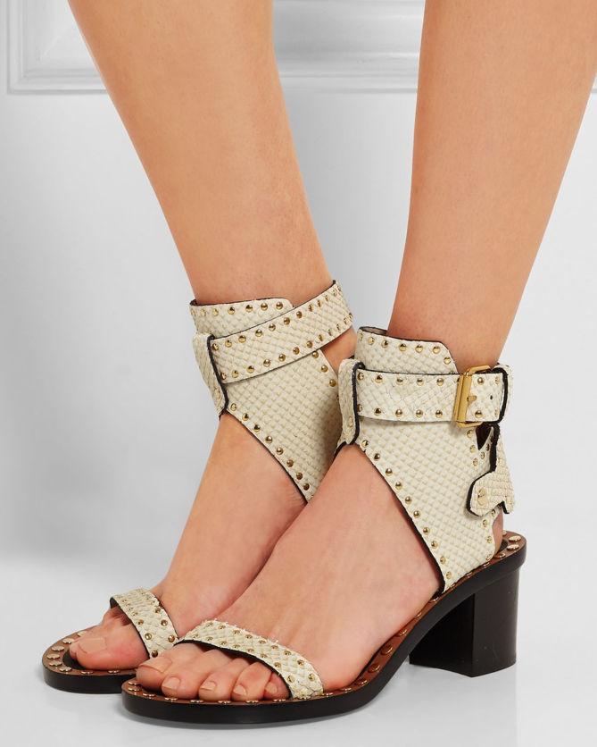 88073f52a8 ISABEL MARANT Jaeryn Studded Snake-effect Leather Sandals - Shoes Post
