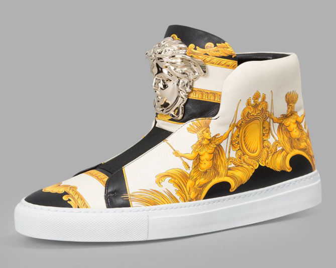 versace s white high top sneakers with iconic print