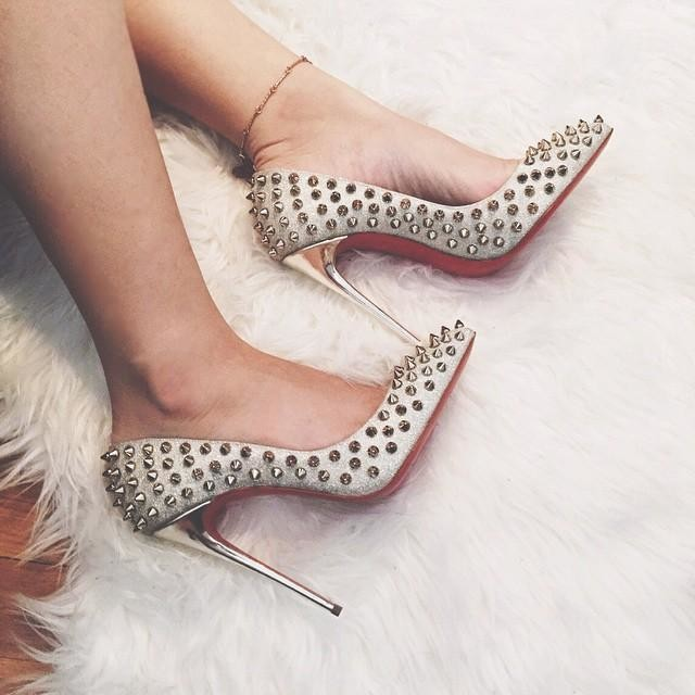 quality design d52a8 b788b Christian Louboutin Follies Spikes 120 mm - Shoes Post