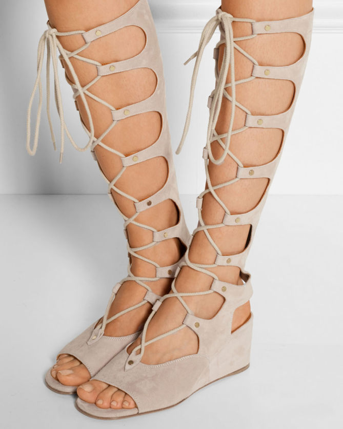a37f71bc4 CHLOÉ Lace-up Suede Wedge Sandals - Shoes Post