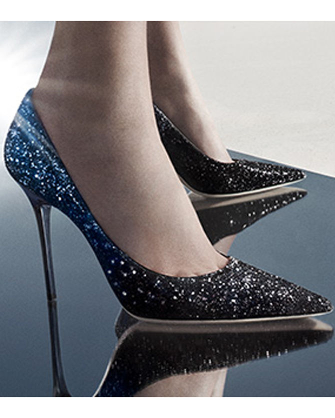 "c3e06f57491 Jimmy Choo ""ABEL"" Black and Navy Coarse Glitter Degrade Fabric Pointy Toe  Pumps"
