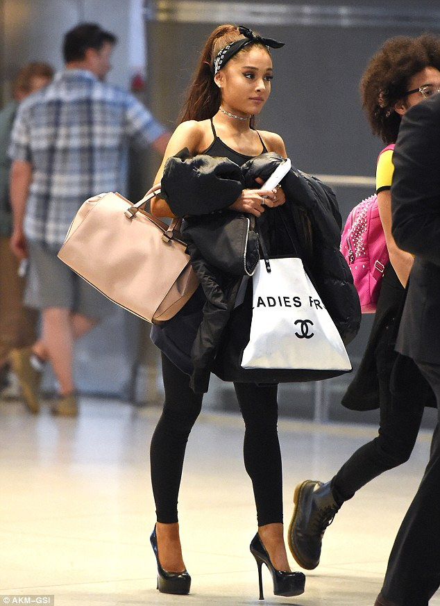 0c44be2dfca Ariana Grande in Cute Head-Scarf and Sky-High Stilettos for Plane Ride