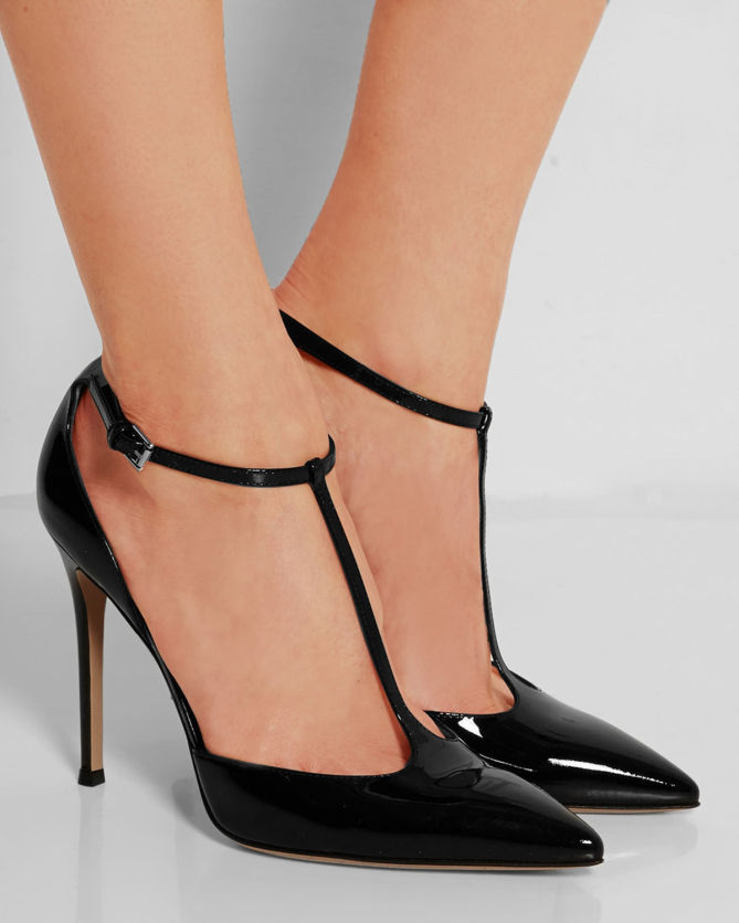 T Bar Red Patent Shoes