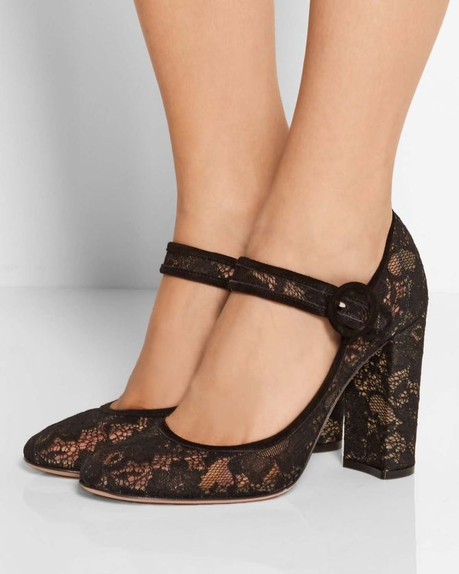 Gianvito Rossi Suede Trimmed Chantilly Lace Mary Jane
