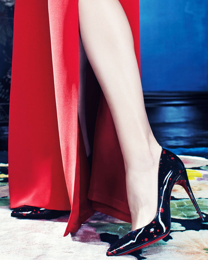 christian louboutin pigalle follies patent red sole pump black