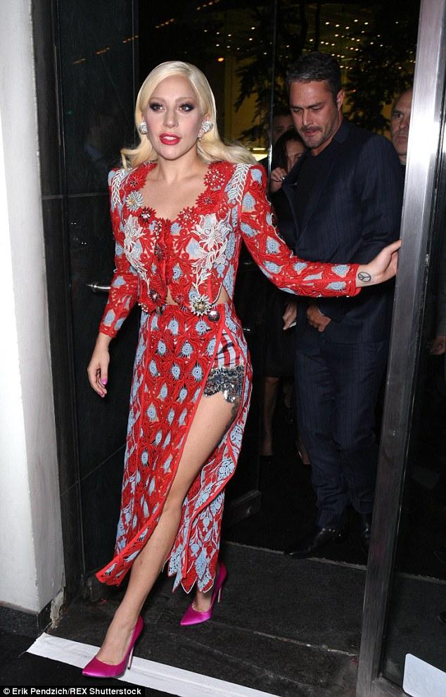 Lady Gaga Shows Off Her Underwear In Pink Satin Stilettos - Shoes Post-2031