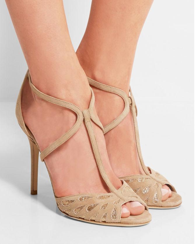 37ab4c0a6153 JIMMY CHOO Dida Glitter-embellished Suede Sandals