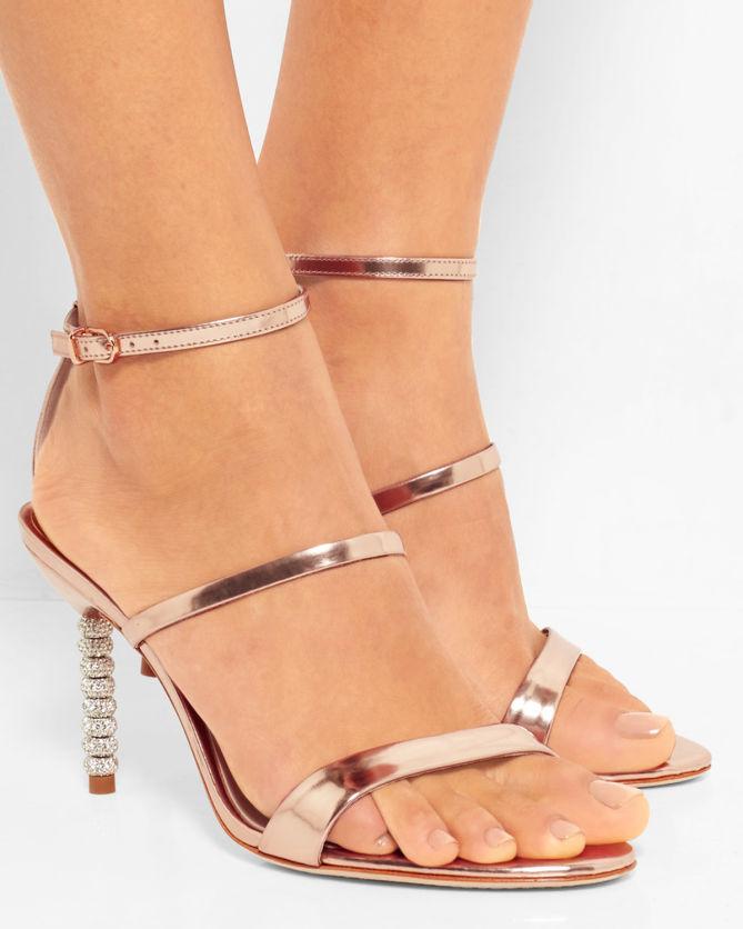 SOPHIA WEBSTER Rosalind Crystal-Heel Metallic Leather Sandals mMcEWwUPr