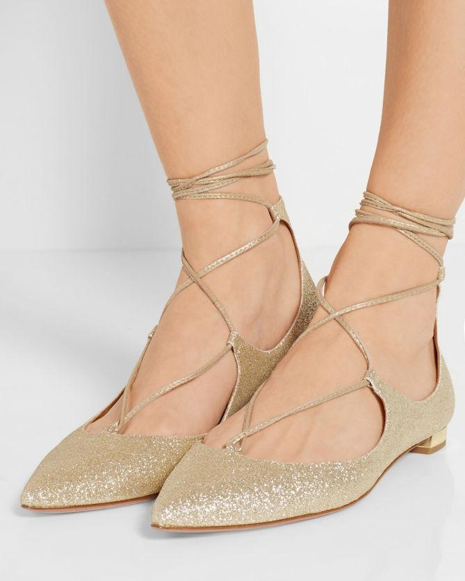 1742da20ab67b AQUAZZURA Christy Glittered Leather Point-toe Flats