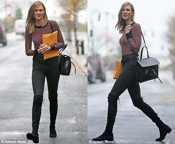 4b4e068045fa3 Karlie Kloss Makes the SW Lowland Her Go-To-School Boots - Shoes Post