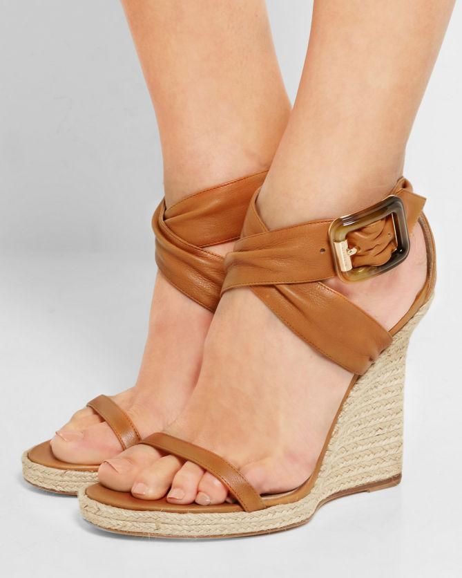 9f662de4cb03 BURBERRY LONDON London leather espadrille wedge sandals - Shoes Post