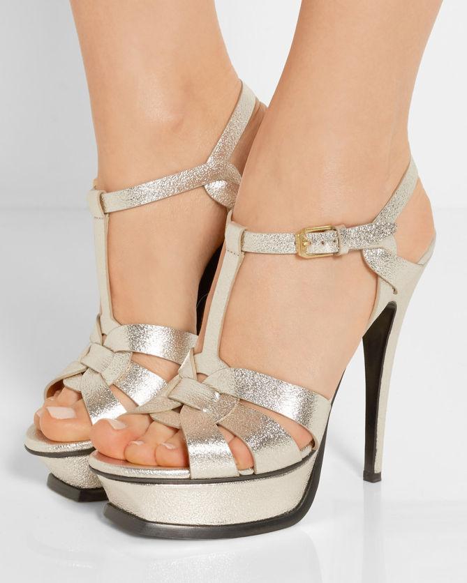 1b41df91b0c SAINT LAURENT Tribute metallic textured-leather platform sandals ...