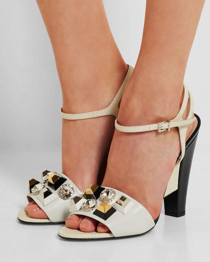 ad25e4d973175f FENDI Embellished leather sandals - Shoes Post