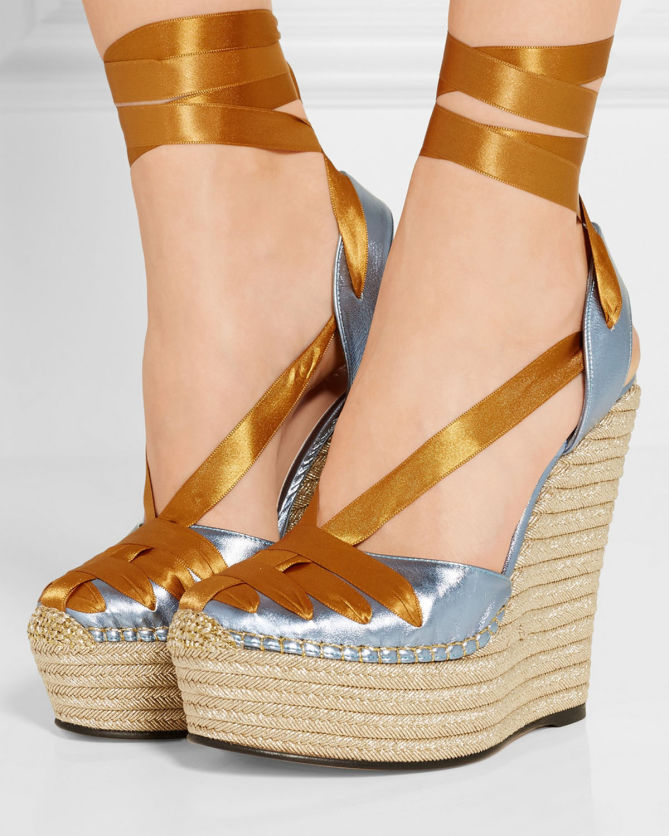 fb260fce2f3 GUCCI Metallic leather and satin espadrille wedge sandals - Shoes Post