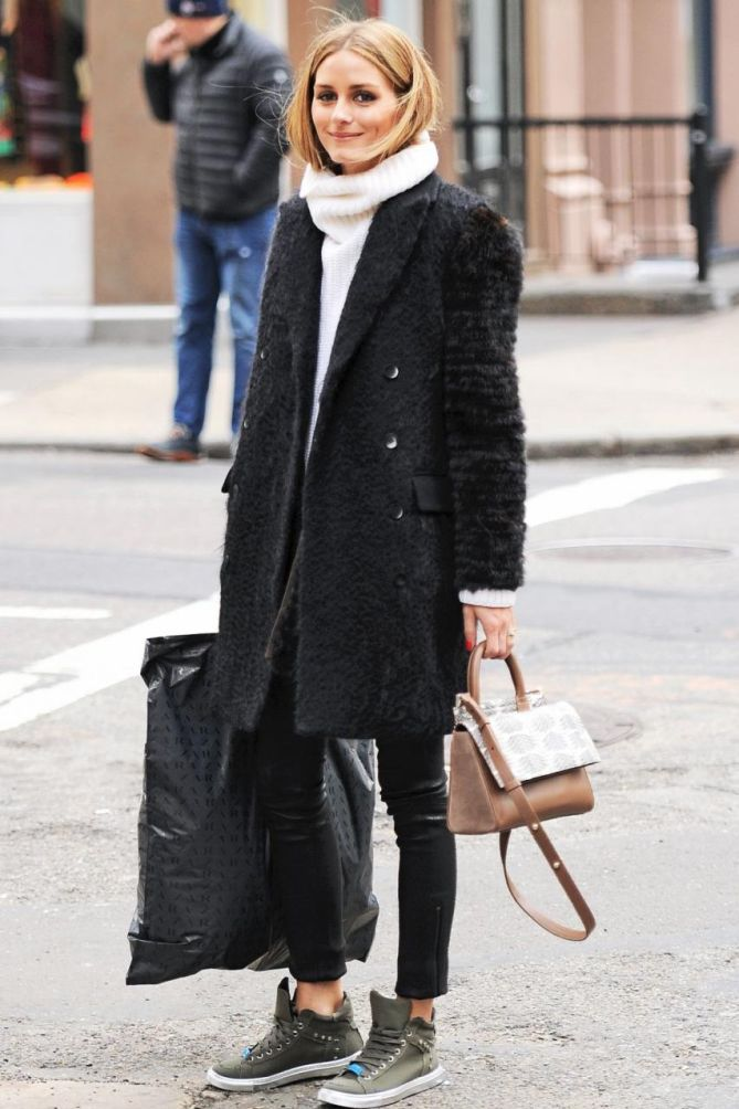 Olivia Palermo Ditches Ladylike Style For Edgy Biker Boots