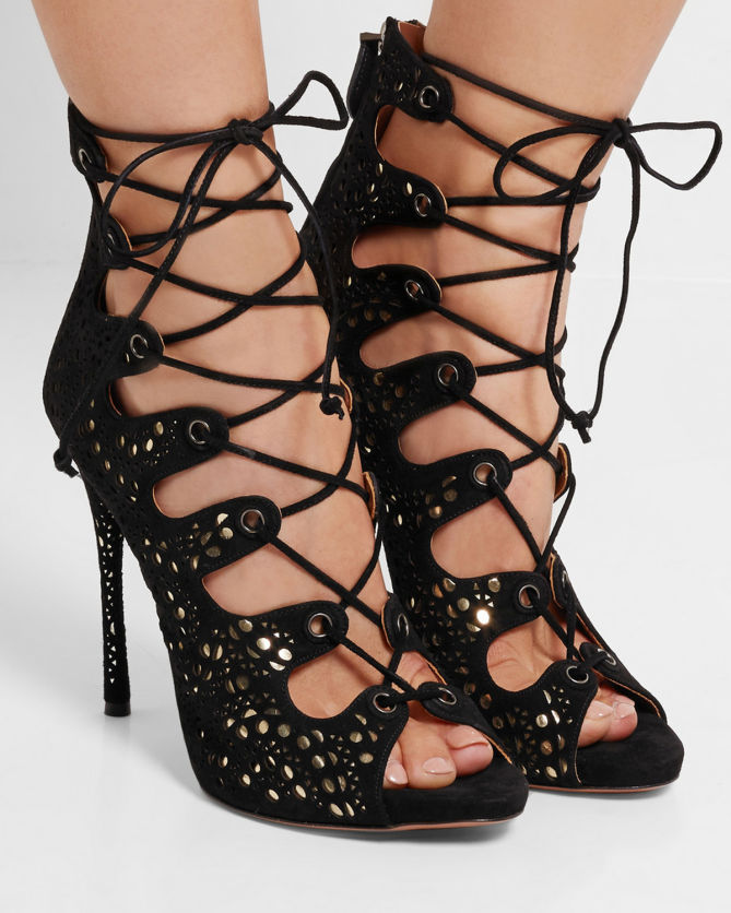 Metallic laser-cut leather sandals Alaia DDwsneHGy
