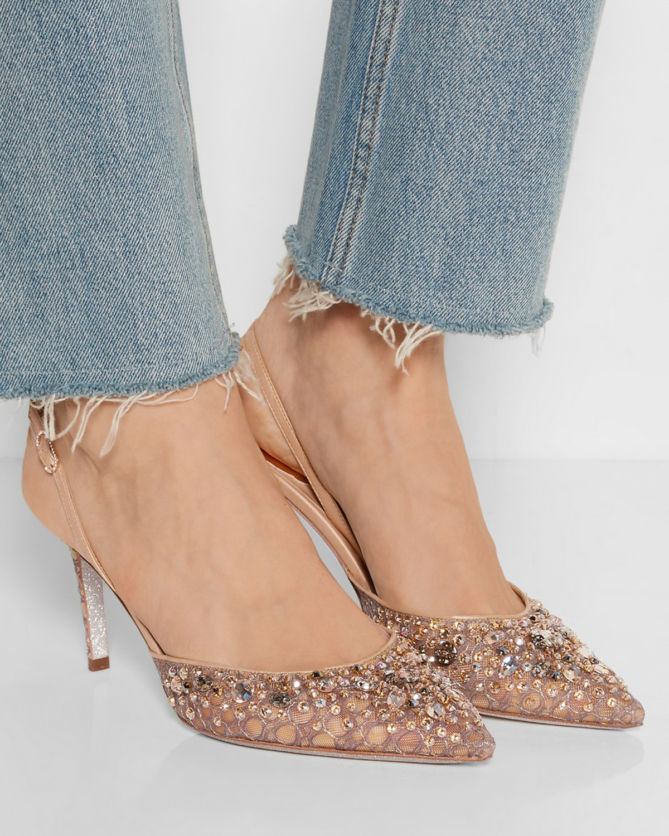 René Caovilla Rene Caovilla Lace Slingback Pumps visa payment sale online buy cheap low shipping fee discount really FBgNnS