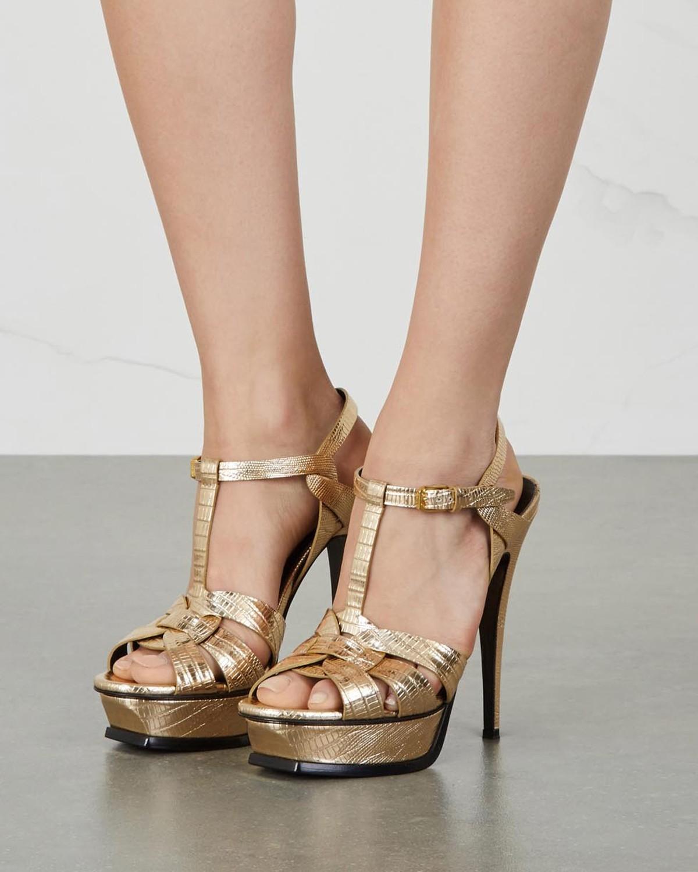55033d92d4 SAINT LAURENT Tribute gold lizard-embossed sandals - Shoes Post