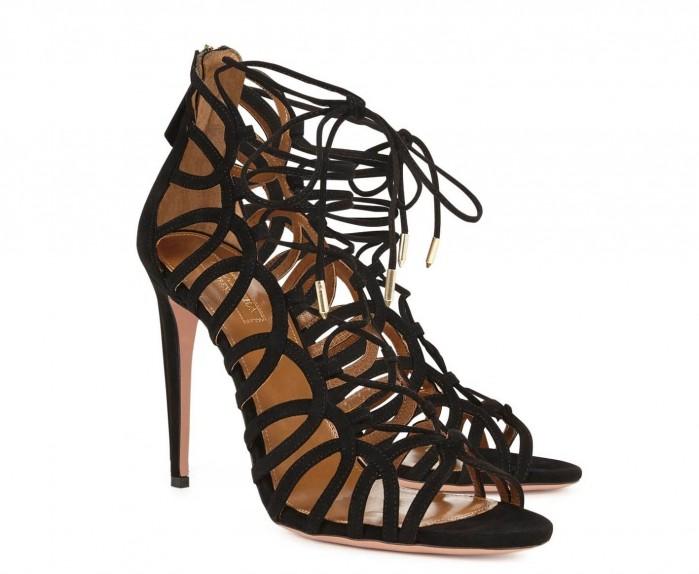 AQUAZZURA Ooh Lala black suede sandals