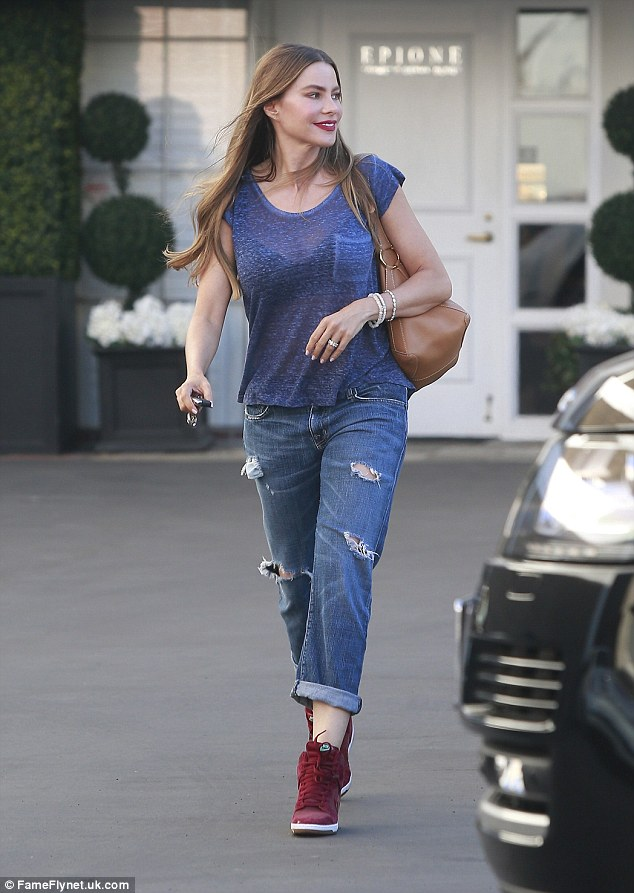 Sofia Vergara Replaces Her Fancy High Heels With Ruby Red