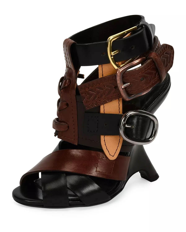 tom ford multi 110mm wedge sandal black brown