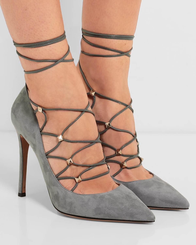 grey lace up pumps