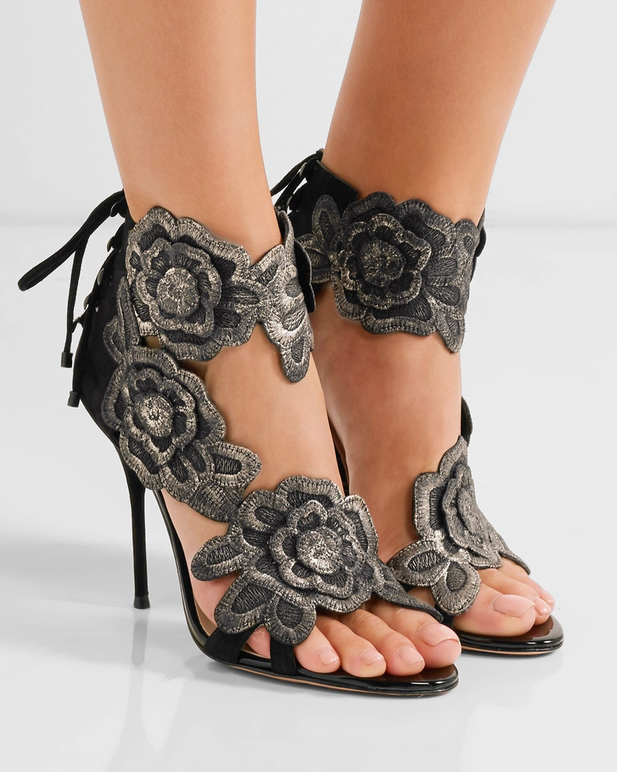 898553a208b5 SOPHIA WEBSTER Winona embroidered suede sandals - Shoes Post