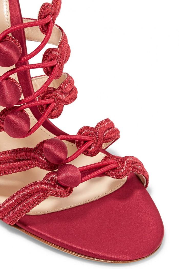Gianvito Rossi Regalia Embroidered Satin Sandals Shoes Post